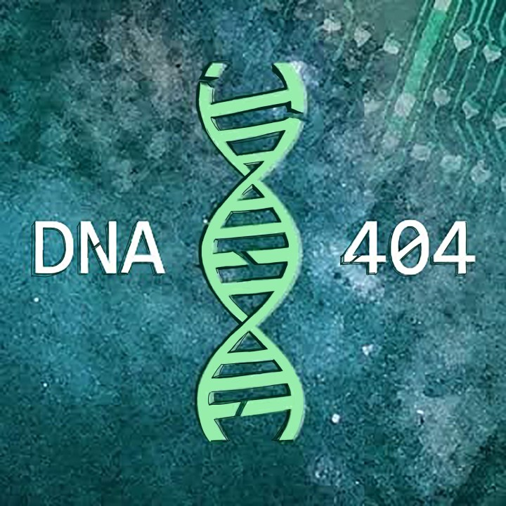 In the center is a seafoam green double helix strand. The DNA strand has a few breaks in it's structure. The words DNA and 404 are white surround the DNA strand over the background. The background is a field of stars fading into a circuit board with a cloudy filter.